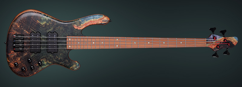 Electric-Bass-with-multicolor-stabilized-wood-top-Main
